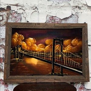 Vintage velvet bridge wall art framed